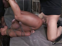 Mom Ava receives some attention from not one but two guys. Well she`s getting more then she can handle and the guys do what they want with her sexy body. After they`ve rubbed her pussy with a vibrator the black one begins to mouth fuck her while the other one takes care of her pussy. She`s about to get cum filled!