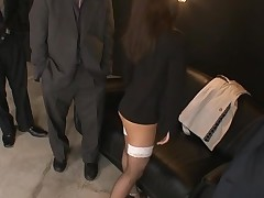 Raunchy cutie in black dress stands on knees and sucks wang