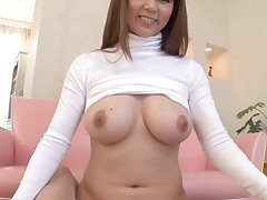 Horny Oriental with large merry boobs thrills with wet fellatio